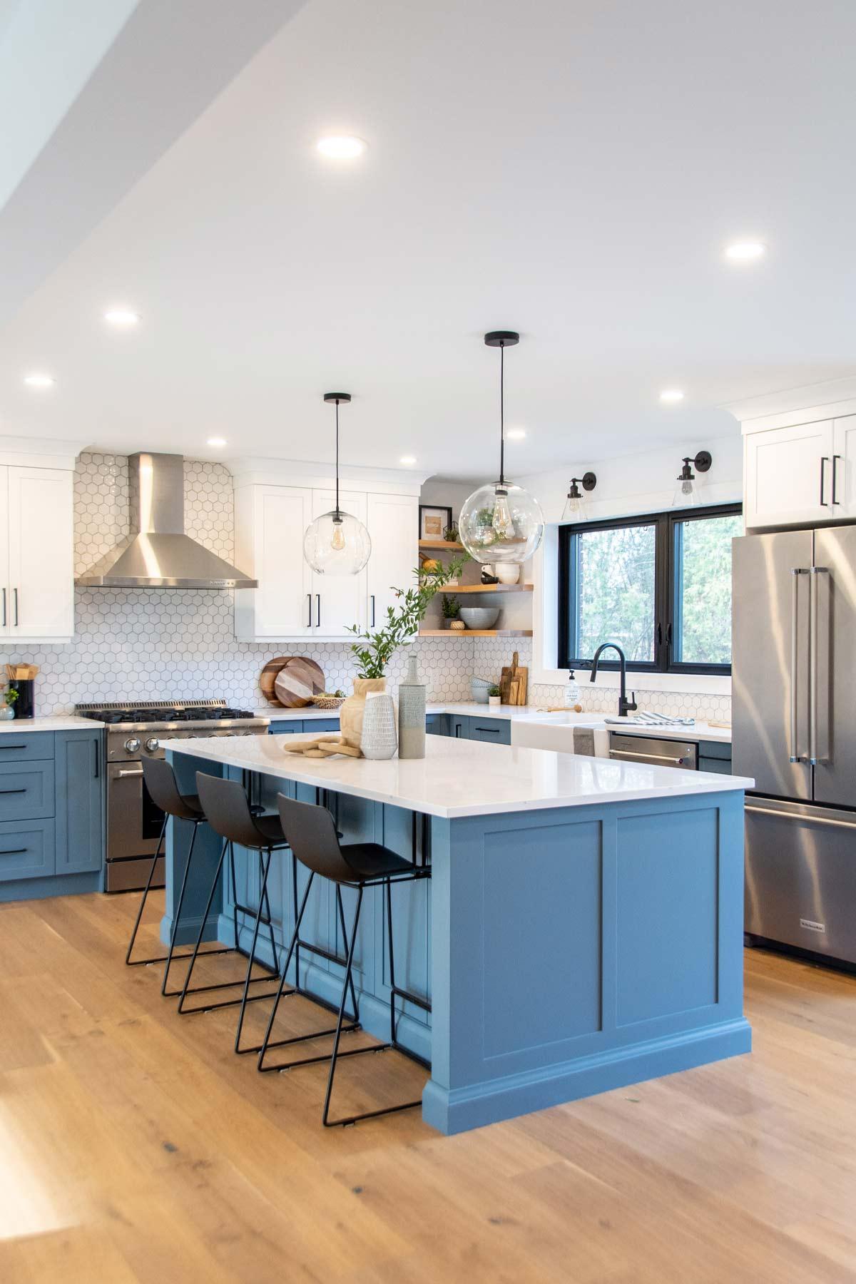blue-kitchen-white-hex-ceiling